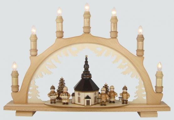 Schwibbogen mit Seiffener Kirche  klein